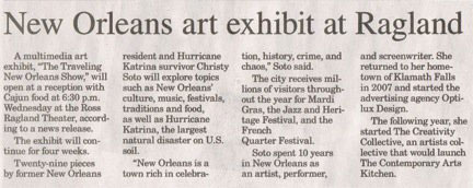 Soto's Traveling New Orleans Show opens at Ross Ragland and Klamath County Library
